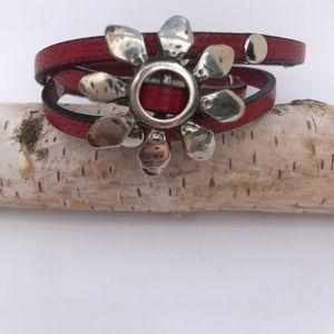 Red Leather Triple Wrap Bracelet
